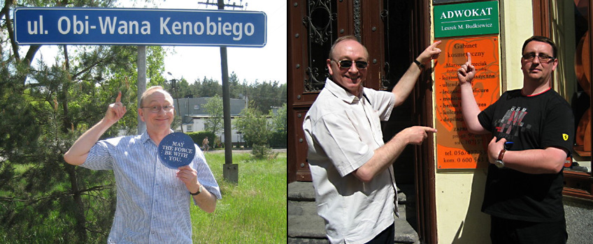 Bydgoski Fanklub Star Wars Birthday Party in Obi-Wan Kenobi Street, Poland<br>1. Arrival in Bydgoszcz - Gerald with BFSW members<br>2. Relaxing in Bydgoszcz with more BFSW members<br>3. Gerald at the Obi-Wan Kenobi Street Sign in Grabowiec<br>4. With Leszek Budkiewicz, the local councillor and Star Wars fan who had the street name changed to Obi-Wan Kenobi Street<br>5. Gerald giving the Lucasfilm letter to BFSW members<br>6. The Lucasfilm birthday greetings letter to BFSW<br>Thanks to Grzegorz for his photos