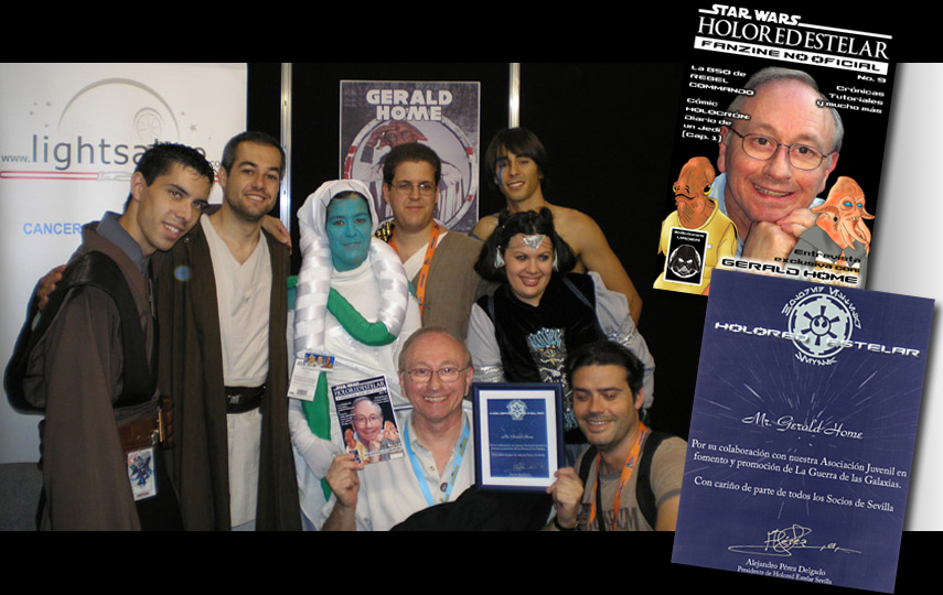 CELEBRATION EUROPE - LONDON<br>1. Gerald with the Lightsabre team - Bex, Mark and Louis - raising money for Cancer Research UK<br>2. Gerald with the Holored Estelar/CalamariMen Club members from Seville; magazine by Santiago Benitez Buitrago; Honorary Membership certificate by Alejandro Perez Delgado<br>3. Gerald with Steve Sansweet and Italian Star Wars fans, including Lisa, and Federico from Jedi Outcasts