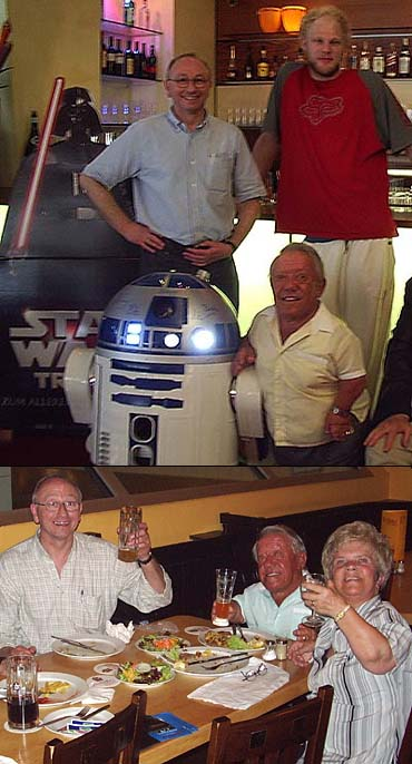 1. Gerald in Nuremberg with Kenny (R2-D2) Baker and Michael GENERAL TARFFUL Kingma<br>2. relaxing with Kenny and Valerie Gale