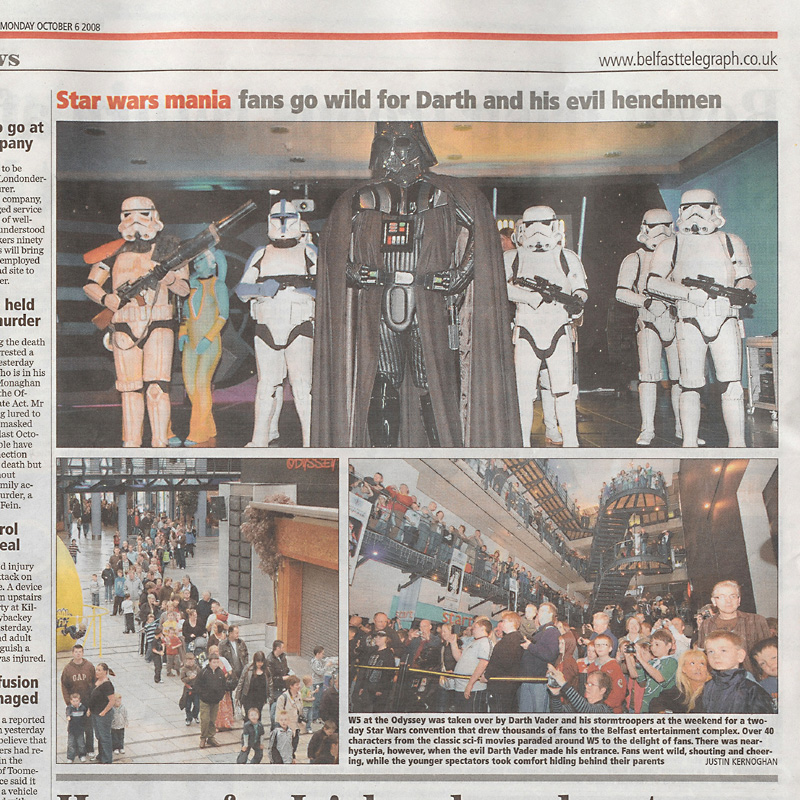INVASION BELFAST - N. IRELAND<br>1. Gerald with Dave DARTH VADER Prowse<br>2. With Clodagh Bell and Louise Bell, the Twi値ek Twins Ann and Tann Gella<br>3. Newspaper report about the event