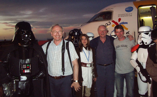SPAIN - STAR WARS EXPERIENCE<br>1. Gerald Home, Julian GENERAL VEERS Glover and Alan PLO KOON Ruscoe at Leon Airport with organiser Nerea and the Spanish Garrison<br>2. Gerald's Honorary Member presentation with translator Fernando, Spanish Garrison GPR Nacho and CO Guillermo Besada<br>3. Gerald, Julian and Alan with some of the Lleida Imperial group.<br>4. Gerald and Julian at Madrid Airport