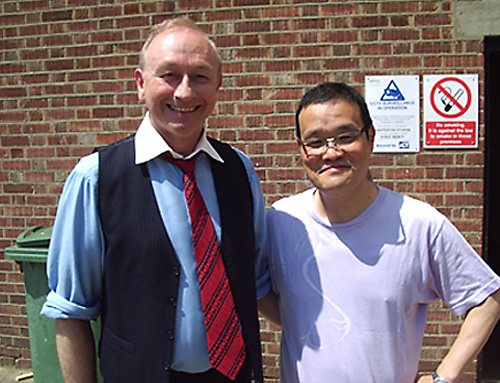 CHATROOM<br>1. CHATROOM poster<br>2. Gerald, in costume, with director Hideo Nakata, after filming his scene in CHATROOM at Shepperton Studios