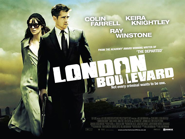 LONDON BOULEVARD<br>1. LONDON BOULEVARD poster<br>2. Gerald, in costume as an undertaker, on location for his scene in LONDON BOULEVARD